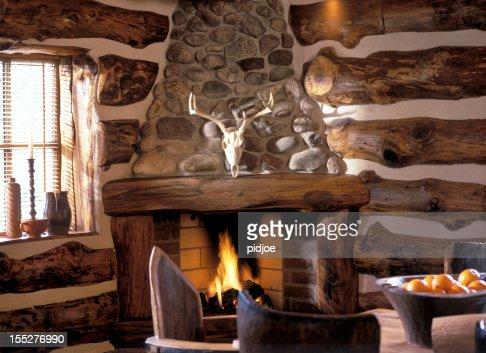 log fire in cabin