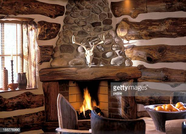 log fire in cabin