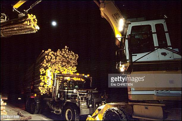 Log Loading Transport Of Wood Saguenay In Quebec Canada In 200024 hours over 24 full moon or not the mechanical arm loaders stacked with the same...