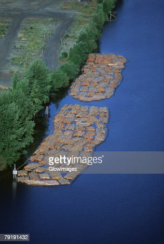 Log rafts flowing to a sawmill, Idaho : Stock Photo