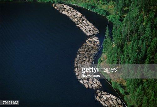 Log rafts flowing to a sawmill, Idaho : Foto de stock