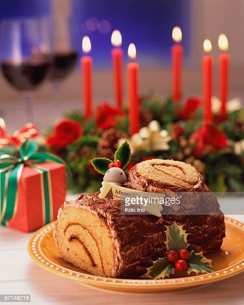 Log shaped chocolate cake for Christmas
