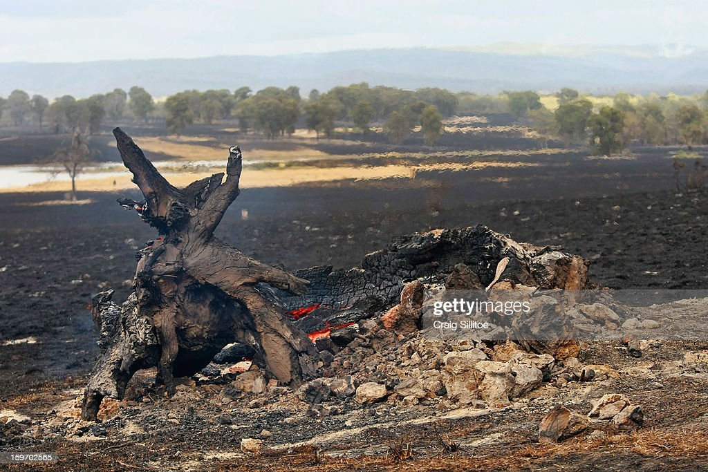 A log smolders after a fire near the town of Seaton on January 19, 2013 in Melbourne, Australia. Bushfires in Victoria have claimed one life and destroyed several houses. Record heat continues to create extreme fire conditions throughout Australia.