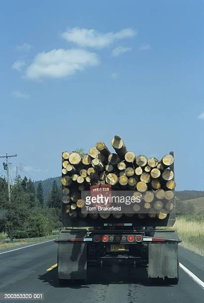 Log truck on road, Idaho, USA
