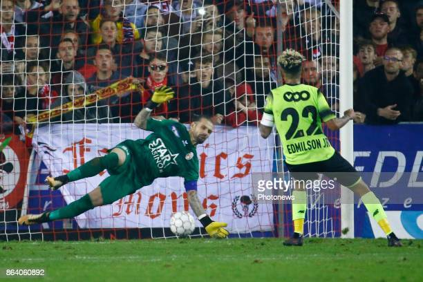 Logan Bailly goalkeeper of Royal Excel Mouscron Junior Edmilson midfielder of Standard Liege scores and celebrates pictured during the Jupiler Pro...