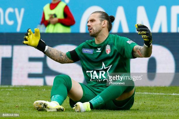 Logan Bailly goalkeeper of Royal Excel Mouscron pictured during the Jupiler Pro League match between Zulte Waregem and Excelsior Mouscron at...