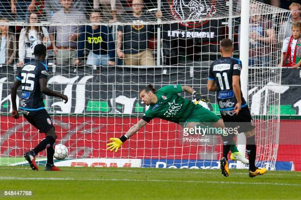 Logan Bailly goalkeeper of Royal Excel Mouscron Sandy Walsh defender of SV Zulte Waregem scores and celebrates pictured during the Jupiler Pro League...