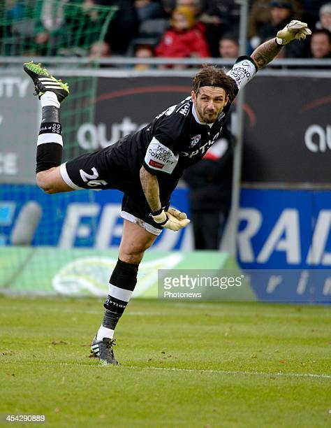 Logan Bailly of OHL pictured during the Jupiler League between OHL vs Standard of Liege at Den Dreef stadium on December 8 2013 in Leuven Belgium