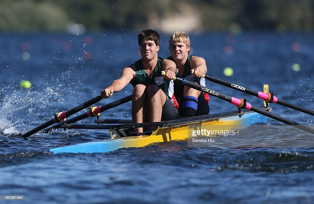Logan Betty (L) and Kyle Cambell of Tuakau race in the Boys U18 double during the New Zealand Junior Rowing Regatta on February 23, 2013 in Auckland, New Zealand.