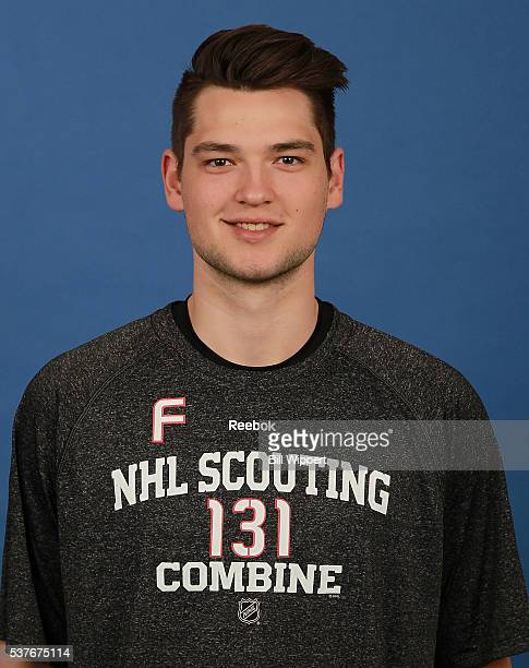 Logan Brown poses for a headshot at the 2016 NHL Combine on June 2 2016 at Harborcenter in Buffalo New York