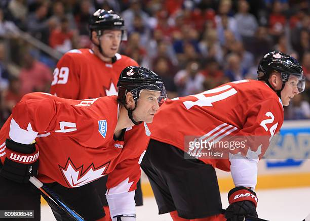 Logan Couture Jay Bouwmeester and Corey Perry of Team Canada prepare for a faceoff against Team Europe during the World Cup of Hockey 2016 at Air...