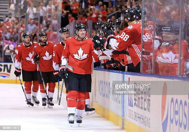 Logan Couture of Team Canada celebrates after scoring a third period goal on Team Europe during the World Cup of Hockey 2016 at Air Canada Centre on...