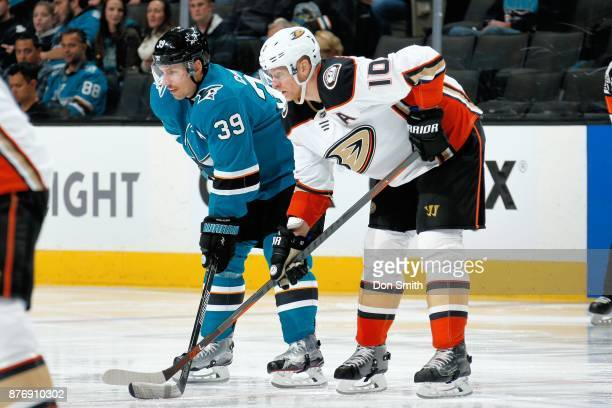 Logan Couture of the San Jose Sharks and Corey Perry of the Anaheim Ducks get ready at SAP Center on November 20 2017 in San Jose California