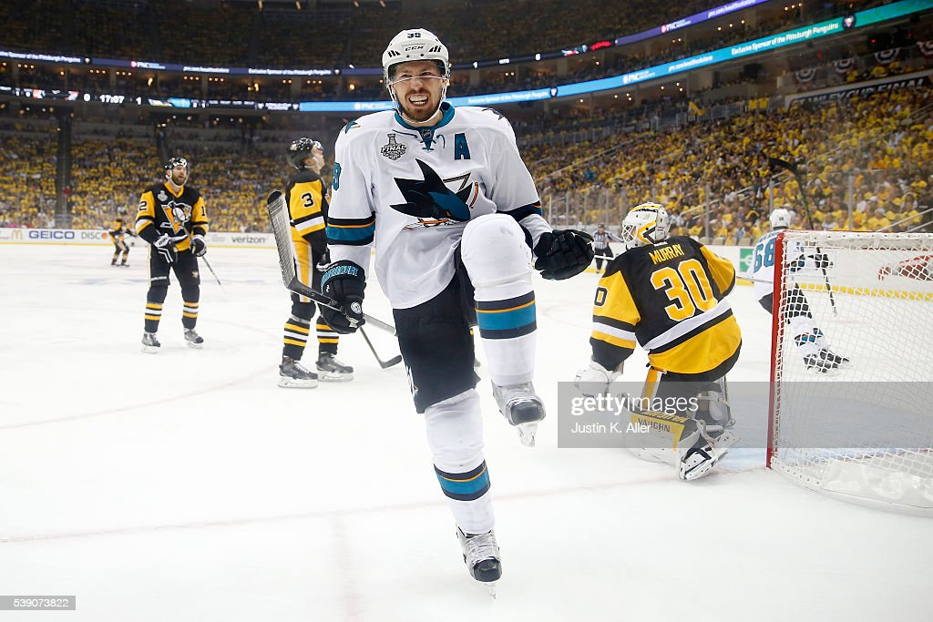 Logan Couture #39 of the San Jose Sharks celebrates after scoring a goal against Matt Murray #30 of the Pittsburgh Penguins during the first period in Game Five of the 2016 NHL Stanley Cup Final at Consol Energy Center on June 9, 2016 in Pittsburgh, Pennsylvania.
