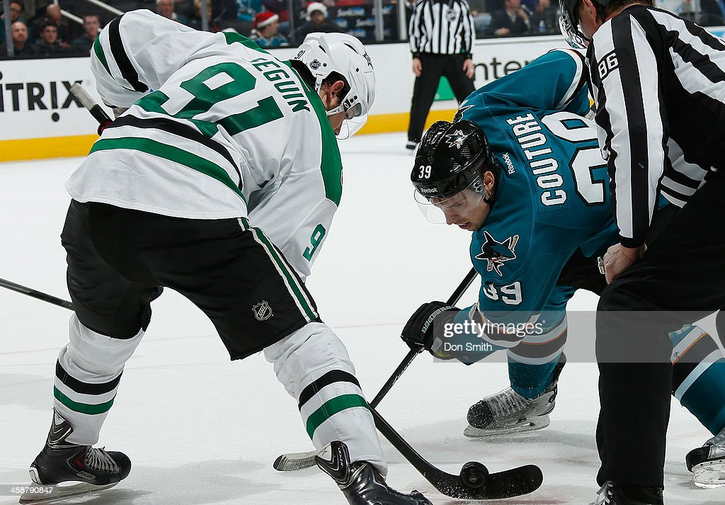 Logan Couture #39 of the San Jose Sharks gets ready to face-off against Tyler Seguin #91 of the Dallas Stars during an NHL game on December 21, 2013 at SAP Center in San Jose, California.