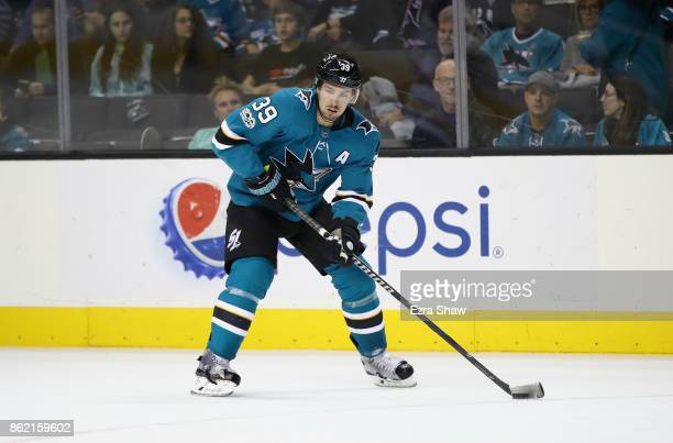 Logan Couture of the San Jose Sharks in action against the Buffalo Sabres at SAP Center on October 12 2017 in San Jose California