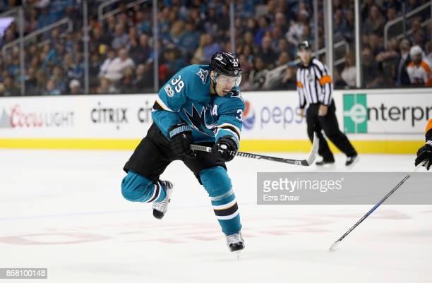 Logan Couture of the San Jose Sharks in action against the Philadelphia Flyers at SAP Center on October 4 2017 in San Jose California