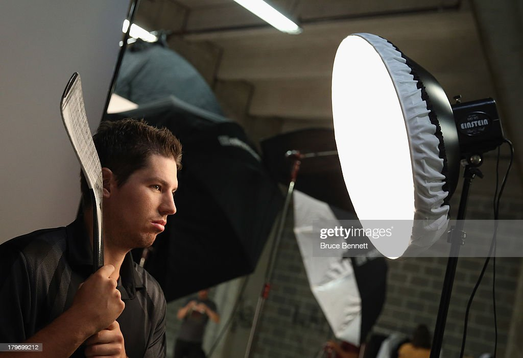 <a gi-track='captionPersonalityLinkClicked' href=/galleries/search?phrase=Logan+Couture&family=editorial&specificpeople=809700 ng-click='$event.stopPropagation()'>Logan Couture</a> of the San Jose Sharks is photographed in a portrait session during the National Hockey League Player Media Tour at the Prudential Center on September 6, 2013 in Newark, New Jersey.