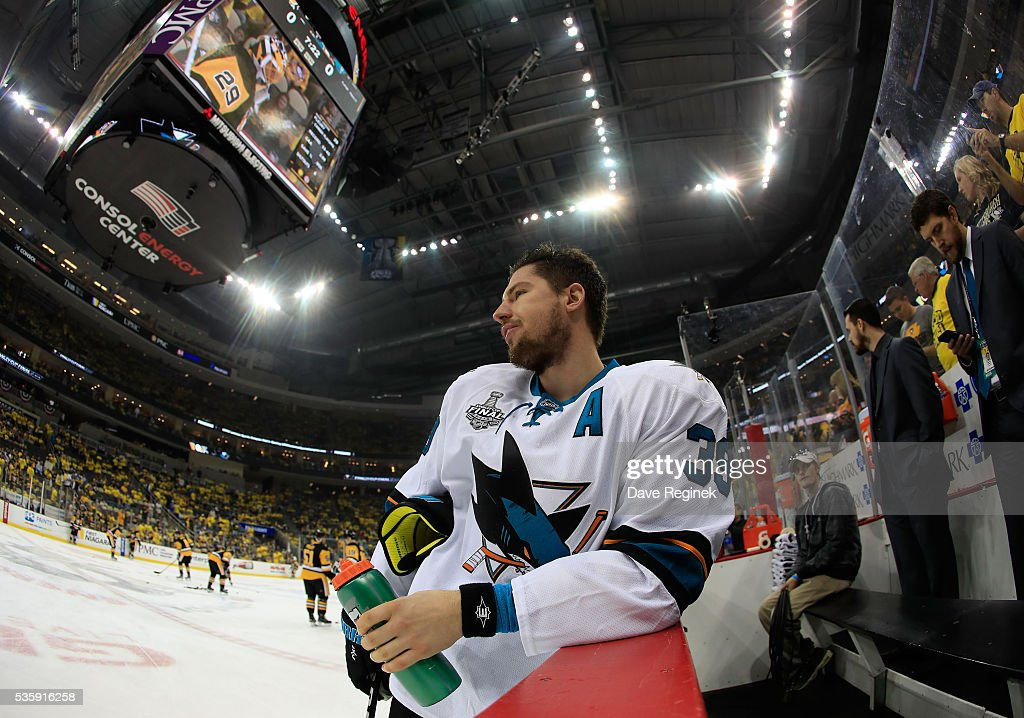 <a gi-track='captionPersonalityLinkClicked' href=/galleries/search?phrase=Logan+Couture&family=editorial&specificpeople=809700 ng-click='$event.stopPropagation()'>Logan Couture</a> #39 of the San Jose Sharks looks on from the bench area during warm-up prior to Game One of the 2016 NHL Stanley Cup Final against the Pittsburgh Penguins at Consol Energy Center on May 30, 2016 in Pittsburgh, Pennsylvania.