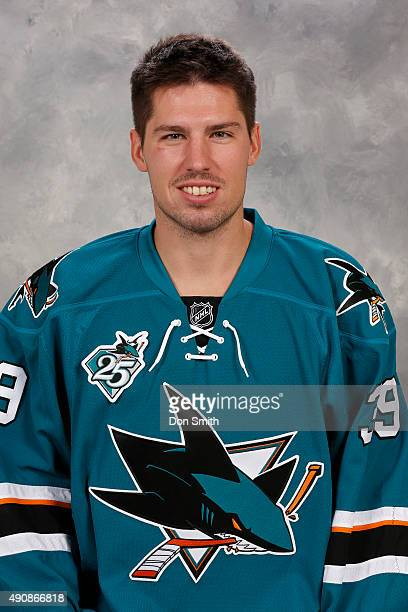 Logan Couture of the San Jose Sharks poses for his official headshot for the 201516 season on September 17 2015 at Sharks Ice in San Jose California