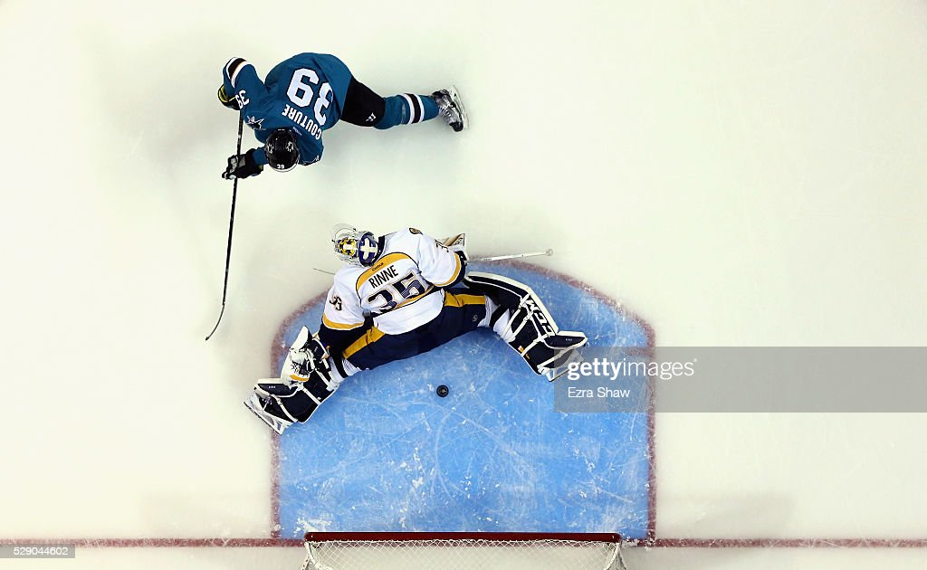 Logan Couture of the San Jose Sharks scores a goal past Pekka Rinne of the Nashville Predators in the second period of Game Five of the Western...