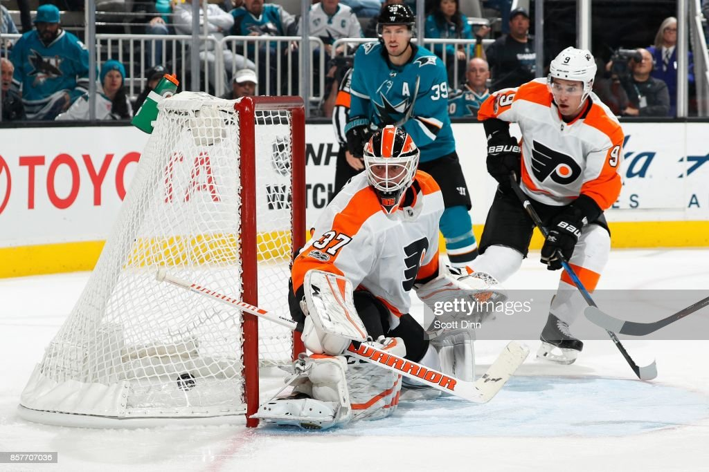 Logan Couture #39 of the San Jose Sharks scores a third period goal during a NHL game against the Philadelphia Flyers at SAP Center at San Jose on October 4, 2017 in San Jose, California.
