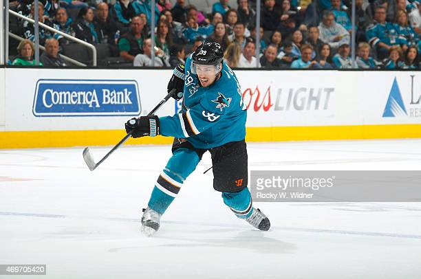 Logan Couture of the San Jose Sharks shoots the puck against the Dallas Stars at SAP Center on April 6 2015 in San Jose California
