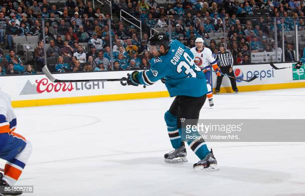 Logan Couture of the San Jose Sharks shoots the puck against the New York Islanders at SAP Center on October 14 2017 in San Jose California