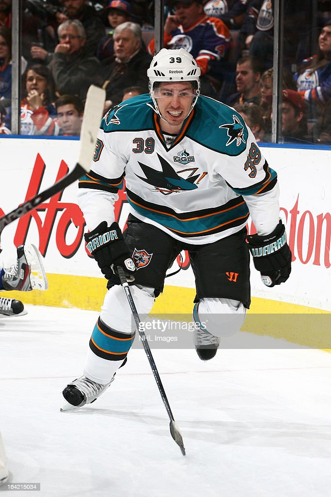<a gi-track='captionPersonalityLinkClicked' href=/galleries/search?phrase=Logan+Couture&family=editorial&specificpeople=809700 ng-click='$event.stopPropagation()'>Logan Couture</a> #39 of the San Jose Sharks skates on the ice in a game against the Edmonton Oilers on March 20, 2013 at Rexall Place in Edmonton, Alberta, Canada.
