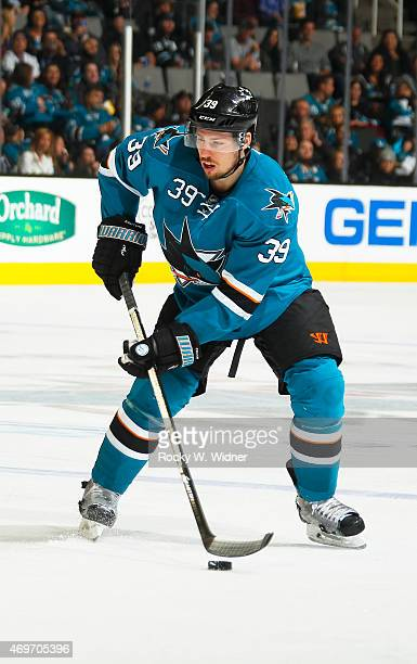Logan Couture of the San Jose Sharks skates with the puck against the Dallas Stars at SAP Center on April 6 2015 in San Jose California