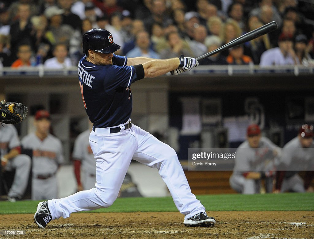 <a gi-track='captionPersonalityLinkClicked' href=/galleries/search?phrase=Logan+Forsythe&family=editorial&specificpeople=4412508 ng-click='$event.stopPropagation()'>Logan Forsythe</a> #11 of the San Diego Padres hits a two RBI single during the sixth inning of a baseball game against the Arizona Diamondbacks at Petco Park on June 14, 2013 in San Diego, California.
