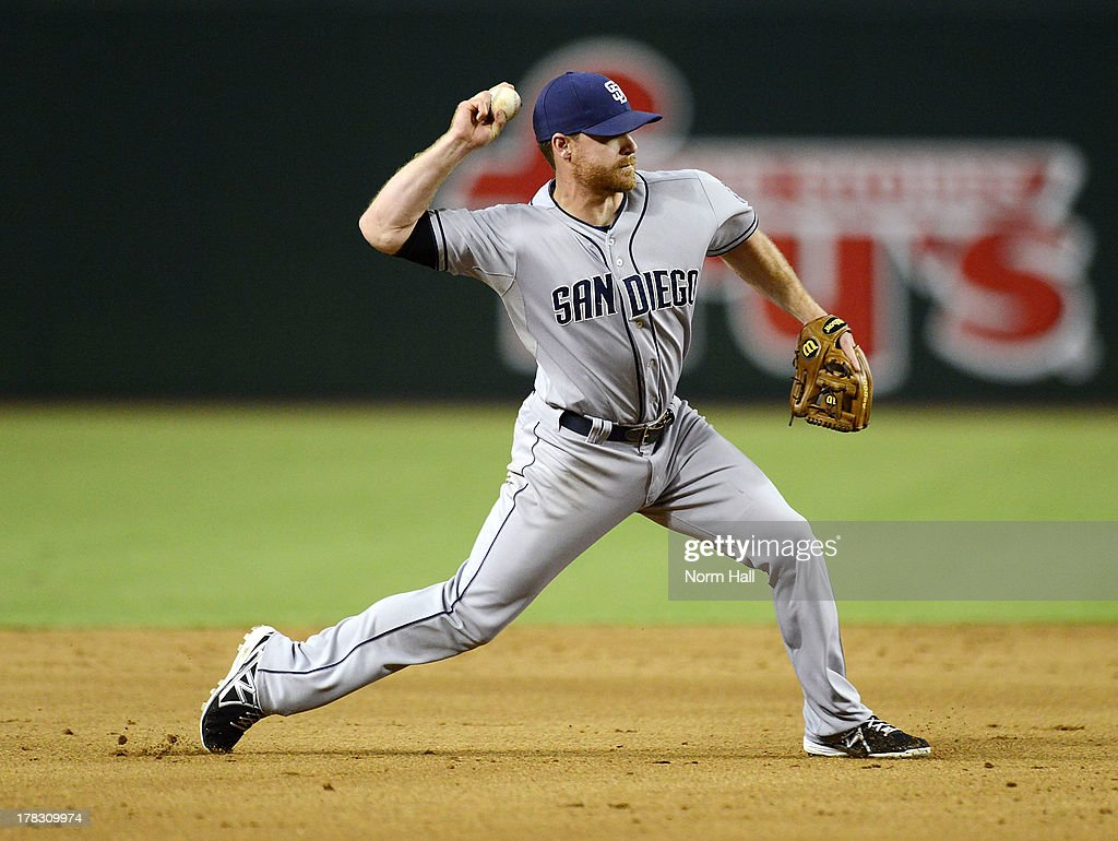 <a gi-track='captionPersonalityLinkClicked' href=/galleries/search?phrase=Logan+Forsythe&family=editorial&specificpeople=4412508 ng-click='$event.stopPropagation()'>Logan Forsythe</a> #11 of the San Diego Padres throws the ball to first base against the Arizona Diamondbacks at Chase Field on August 28, 2013 in Phoenix, Arizona.