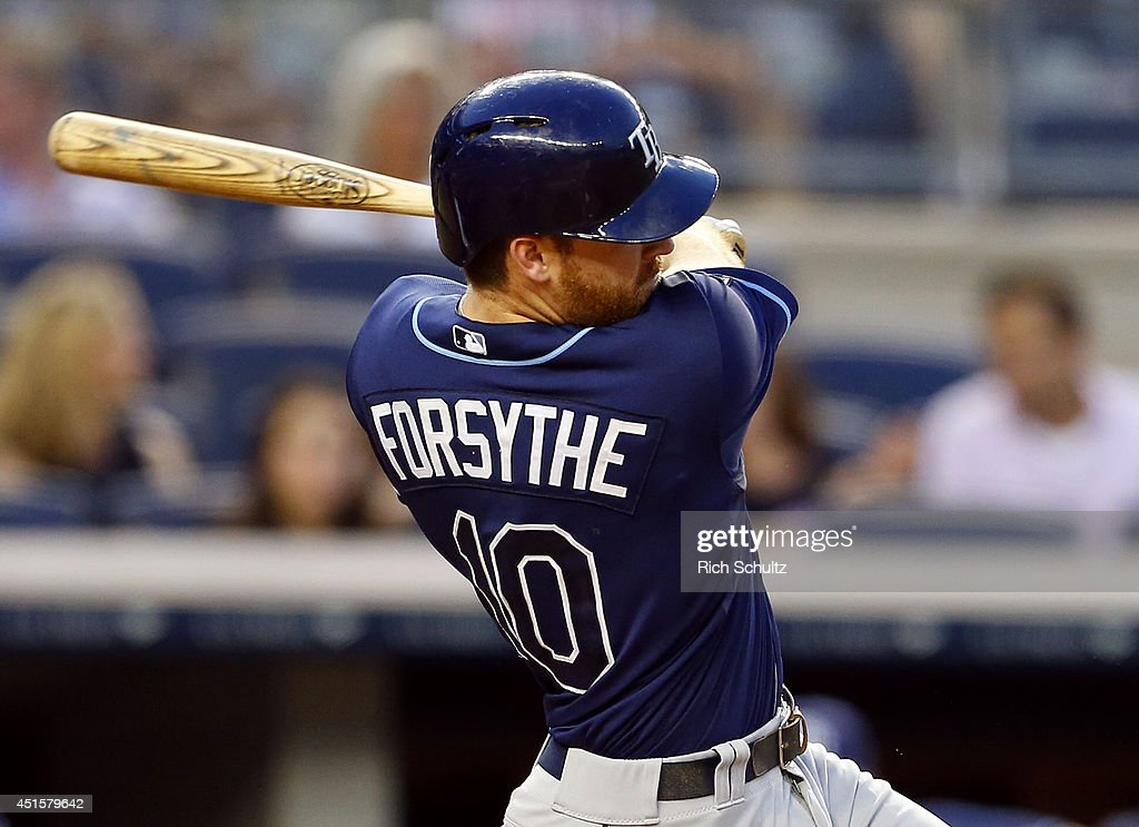 <a gi-track='captionPersonalityLinkClicked' href=/galleries/search?phrase=Logan+Forsythe&family=editorial&specificpeople=4412508 ng-click='$event.stopPropagation()'>Logan Forsythe</a> #10 of the Tampa Bay Rays hits an RBI single in the fourth inning against the New York Yankees in a MLB baseball game at Yankee Stadium on July 1, 2014 in the Bronx borough of New York City.