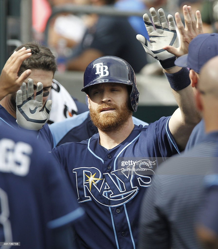 Logan Forsythe #10 of the Tampa Bay Rays is congratulated in the dugout after hitting a solo home run against the Detroit Tigers during the fifth inning at Comerica Park on July 5, 2014 in Detroit, Michigan.