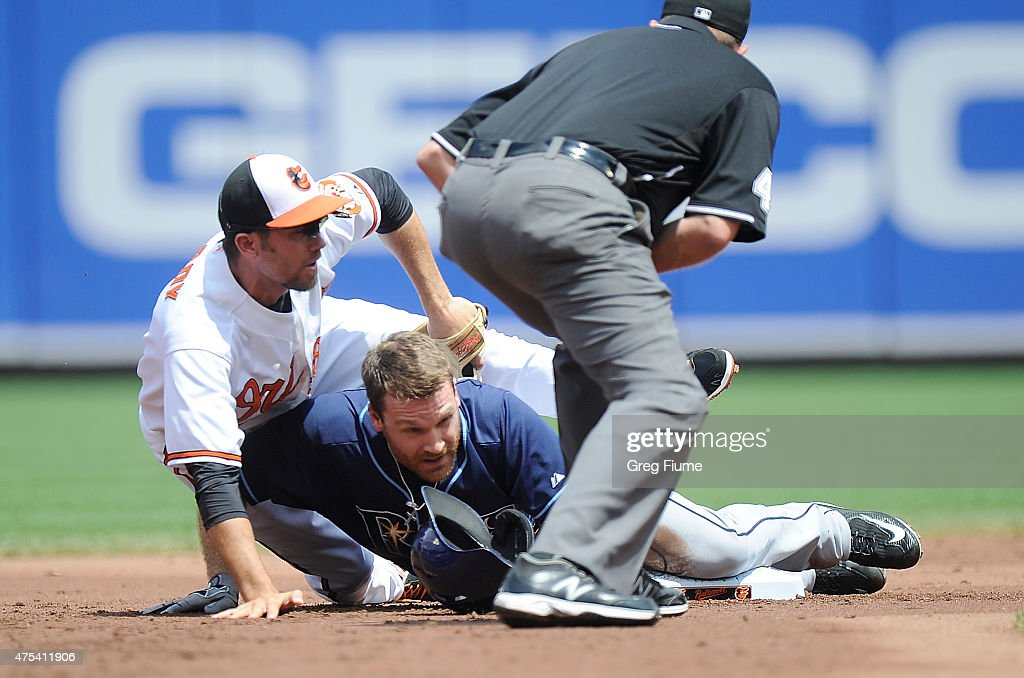 Logan Forsythe #11 of the Tampa Bay Rays slides into second base for a double ahead of the tag of J.J. Hardy #2 of the Baltimore Orioles in the second inning at Oriole Park at Camden Yards on May 31, 2015 in Baltimore, Maryland.
