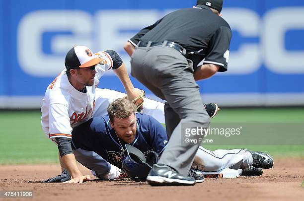 Logan Forsythe of the Tampa Bay Rays slides into second base for a double ahead of the tag of JJ Hardy of the Baltimore Orioles in the second inning...
