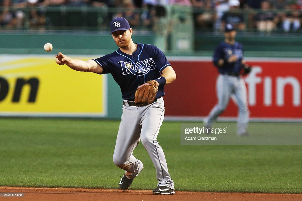 Logan Forsythe of the Tampa Bay Rays throws to first base in the first inning during a game against the Boston Red Sox at Fenway Park on August 29...