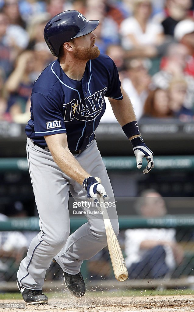 Logan Forsythe #10 of the Tampa Bay Rays watches his solo home run during the fifth inning of a game against the Detroit Tigers at Comerica Park on July 5, 2014 in Detroit, Michigan.