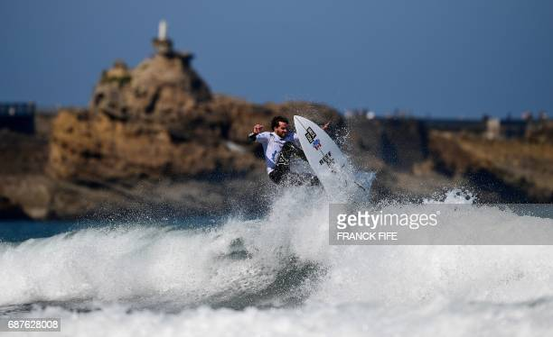 TOPSHOT Logan Landry of Canada competes during the Repechage Round 1 on May 24 2027 in Biarritz southwestern France during the 2017 ISA World Surfing...