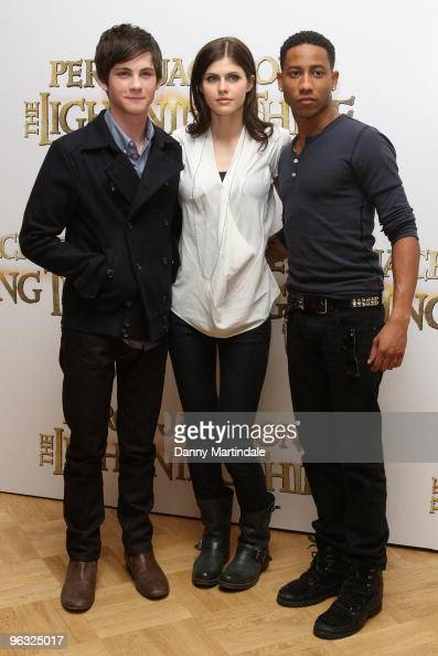 Logan Lerman Alexandra Daddario and Brandon T Jackson attend photocall for 'Percy Jackson The Lightning Thief' on February 1 2010 in London England