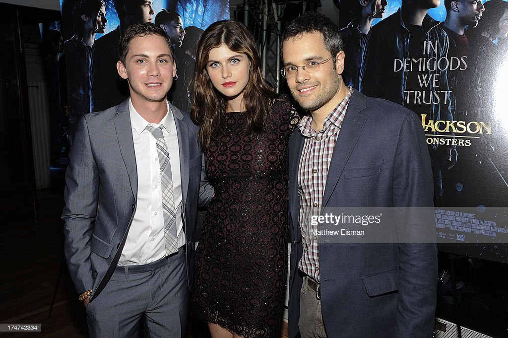 <a gi-track='captionPersonalityLinkClicked' href=/galleries/search?phrase=Logan+Lerman&family=editorial&specificpeople=635439 ng-click='$event.stopPropagation()'>Logan Lerman</a>, <a gi-track='captionPersonalityLinkClicked' href=/galleries/search?phrase=Alexandra+Daddario&family=editorial&specificpeople=5679721 ng-click='$event.stopPropagation()'>Alexandra Daddario</a> and Thor Freudenthal attend 'Percy Jackson: Sea Of Monsters' Hamptons Premiere afterparty at 75 Main Street on July 28, 2013 in Southampton, New York.