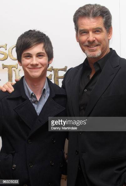 Logan Lerman and Pierce Brosnan attend photocall for 'Percy Jackson The Lightning Thief' on February 1 2010 in London England