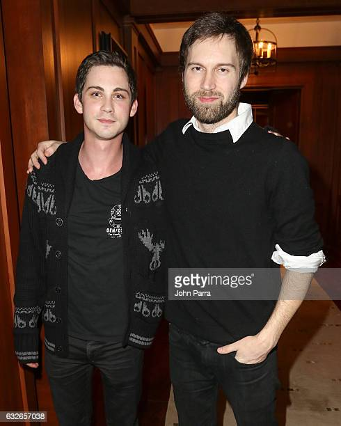 Logan Lerman and Shawn Christensen attend the GOOGLE HOME Super Crispy Films celebrate 'Sidney Hall' at the home of Barry Amy Baker on January 24...