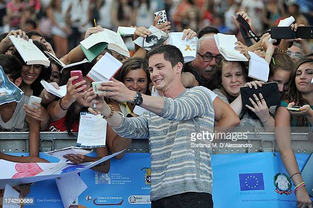 Logan Lerman attends 2013 Giffoni Film Festival bllue carpet on July 23 2013 in Giffoni Valle Piana Italy