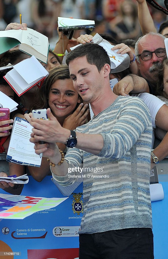 <a gi-track='captionPersonalityLinkClicked' href=/galleries/search?phrase=Logan+Lerman&family=editorial&specificpeople=635439 ng-click='$event.stopPropagation()'>Logan Lerman</a> attends 2013 Giffoni Film Festival bllue carpet on July 23, 2013 in Giffoni Valle Piana, Italy.