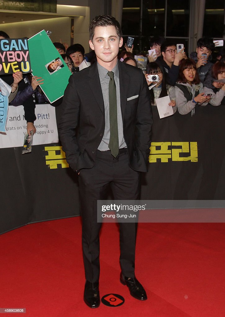 Logan Lerman attends the 'Fury' Premiere at Time Square on November 13 2014 in Seoul South Korea