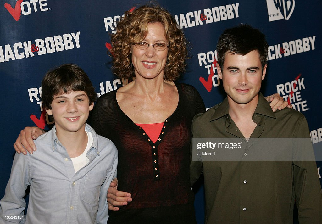 Logan Lerman Christine Lahti and Matt Long during The WB Network's 'Jack and Bobby' Rock the Vote Party Arrivals at Warner Bros Studios in Burbank...