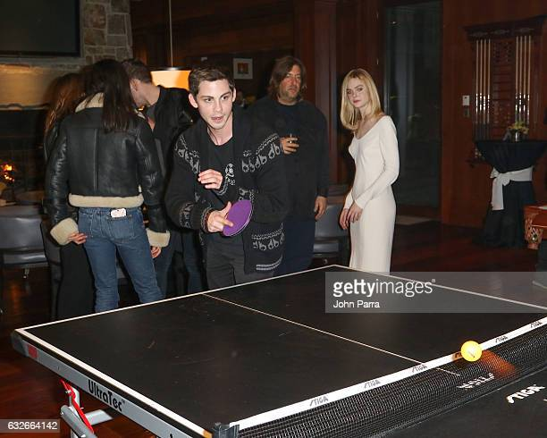 Logan Lerman Elle Fanning Michelle Monaghan and Margaret Qualley attend the GOOGLE HOME Super Crispy Films celebrate 'Sidney Hall' at the home of...
