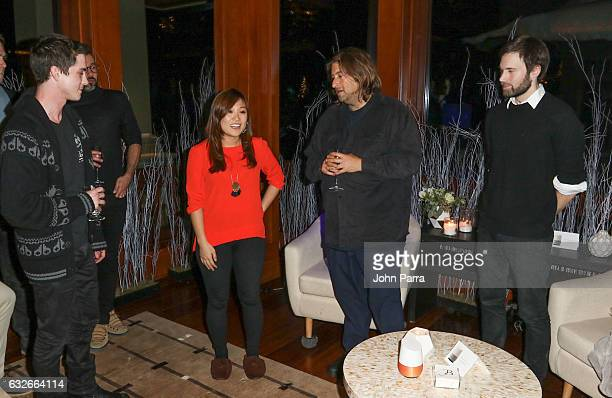 Logan Lerman Noelle Kim Shawn Christensen and Jonathan Schwartz attend the GOOGLE HOME Super Crispy Films celebrate 'Sidney Hall' at the home of...