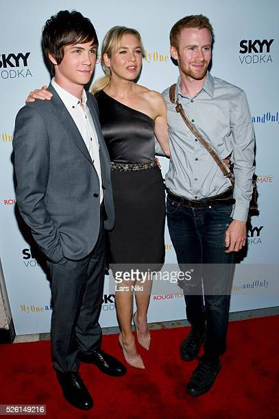 Logan Lerman Renee Zellweger and Mark Rendall attend the 'My One And Only' premiere at the Paris Theatre in New York City